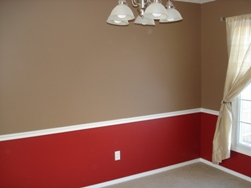 Interior painting red dining room